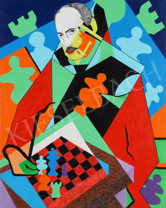 For sale  drMáriás - Mihály Károlyi is playing chess with a soldier in Jean Metzinger's studio 's painting