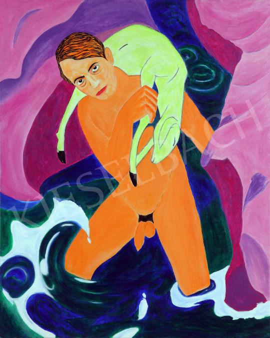 For sale  drMáriás - Endre Ady saves the heavenly lamb in Franz Marc's studio 's painting
