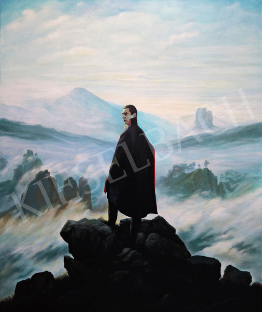 For sale  drMáriás - Béla Lugosi appears above the Carpathians in Caspar David Friedrich's studio 's painting
