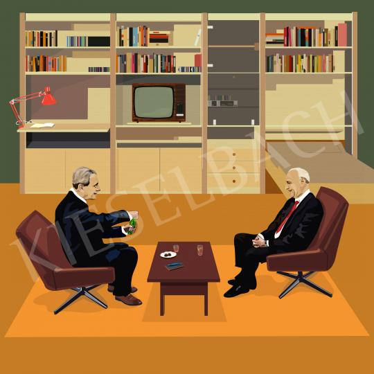 For sale  Péter Weiler - Aczél and Kádár discuss the affairs of the country in my nursery 's painting