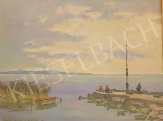 Eladó  Csáki-Maronyák József - Balatoni horgászok (Fonyódi kikötő) festménye