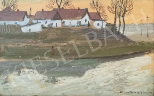 Czene, Béla jr. - Village View / Twilight on the Zagyva, 1958 painting
