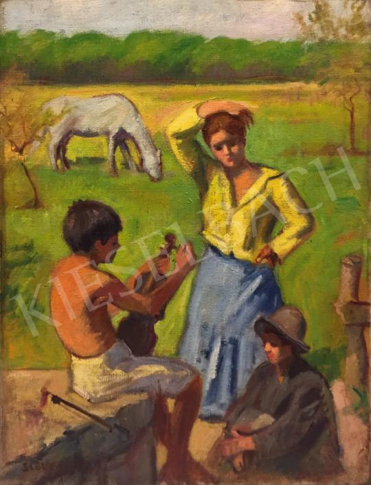 Eladó Slevenszky Lajos - A hegedű (Nyári szünet) festménye
