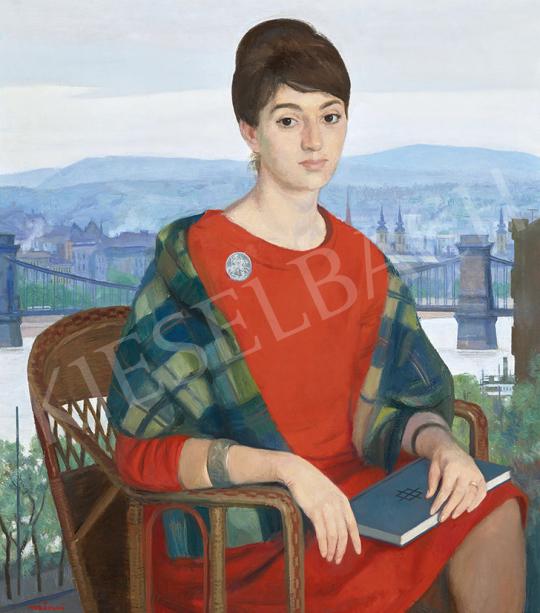 Mácsai István - Lány piros ruhában budapesti háttérrel, 1970 körül | 63. Téli Aukció aukció / 3 tétel