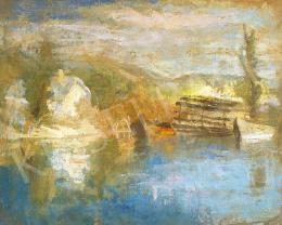 Szőnyi István - Tükröződő Dunapart (Zebegény, vizimalom), 1930-as évek