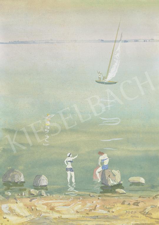 Molnár C. Pál - Balatonpart (Üdvözlés a vitorlásról), 1940 körül | 63. Téli Aukció aukció / 15 tétel