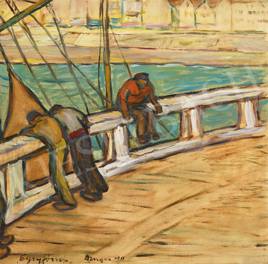Egry József - Vitorlás kikötőben (Bruge-i részlet), 1911 | 63. Téli Aukció aukció / 17 tétel