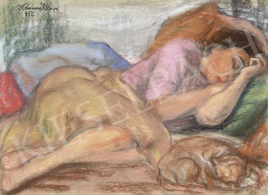 Róna Klára - Délutáni pihenés (Alvó lány macskával), 1956 | 63. Téli Aukció aukció / 34 tétel