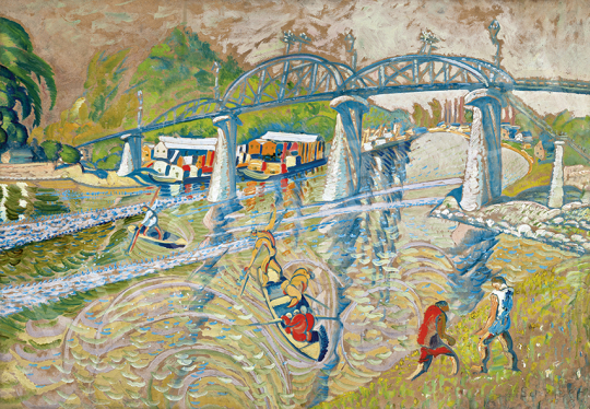 Scheiber Hugó - Újpesti híd (Folyóparton, Vasúti híd, Átjáró híd), 1921 körül | 63. Téli Aukció aukció / 38 tétel