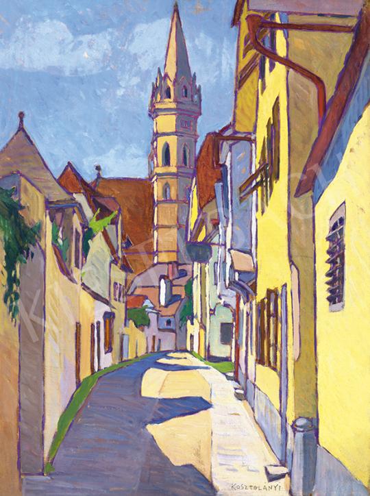 Kosztolányi Kann Gyula - Kisvárosi utca templomtoronnyal, 1912 körül | 63. Téli Aukció aukció / 39 tétel