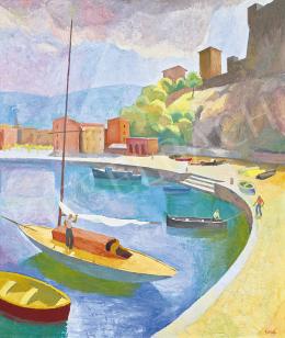 Patkó Károly - Mediterrán kikötő vitorlással, 1929