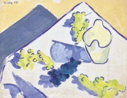 Móricz, Margit, - Sunny Summer Still Life with Grapes and Champagne Cooler, 1929