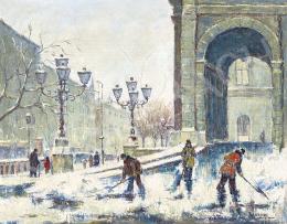 Guzsik Ödön - Az Operánál télen, 1940 körül