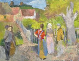 Szőnyi, István - Talkers on the Sunny Street by Zebegény, 1930s