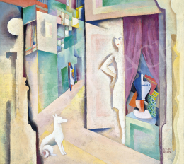 Kádár, Béla - Constructive City (Woman with Dog), c. 1928