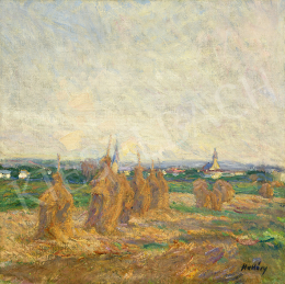 Hollósy, Simon - Landscape with Haystacks (Técső)
