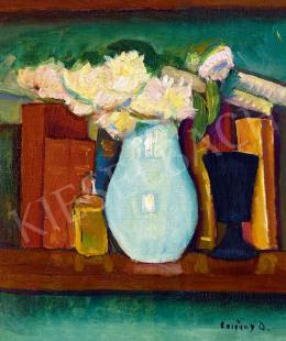 Czigány Dezső - Műtermi  csendélet kék pohárral, 1920 körül