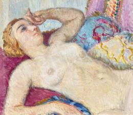 Boldizsár István - Női akt (Nagybányai modell a műteremben)