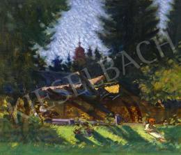 Mikola András - Nagybányai Malomrét (Festő a patakparton), 1925