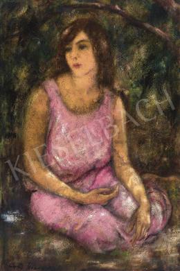 Feszty Masa - Rózsaszín ruhás lány lombok alatt, 1920-as évek