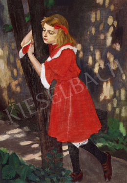 Tichy, Gyula - Little Girl in Red Dress (In the Garden), c. 1910