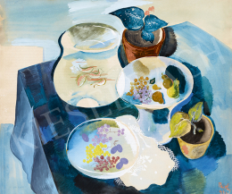 Peitler, István - Art deco Still Life with Fruits and Goldfishes,  1931