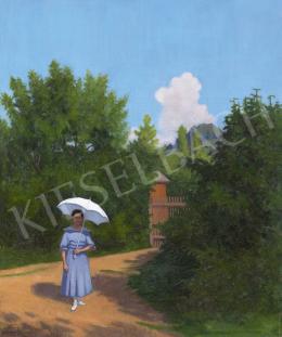 Börtsök Samu - Kékruhás lány a nagybányai villa kertjében