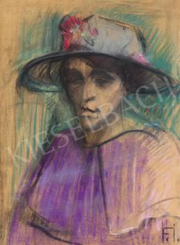 Farkas István - A lila ruha (Kalapos lány), 1923