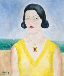 Peterdi Gábor - Sárga ruhás nő francia tengerparton(Torday Judit szavalóművésznő), 1930