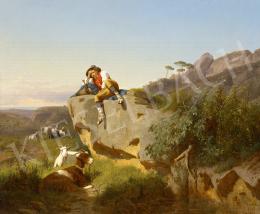 Markó, András - Italian Landscape with Shepherd, 1868