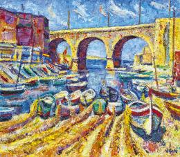 Vén Emil - Dél-Francia táj (Marseille-i halászkikötő viadukttal)