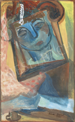 Anna, Margit - Self Portrait in Mirror (Toilette Table with Pearl Necklet), 1935