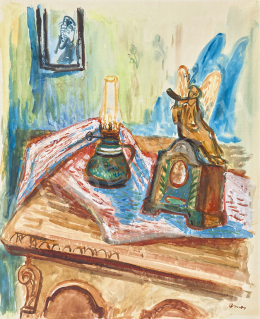Ámos, Imre - Still Life with Old Clock and with Angel Blowing Shofar