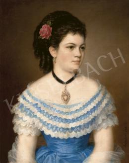 Barabás Miklós - Fiatal nő kék selyemruhában, 1873