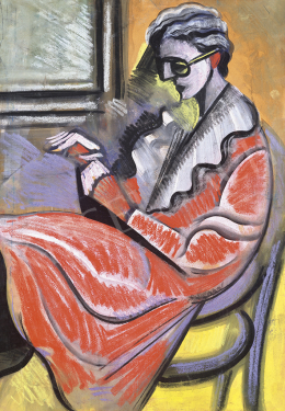 Scheiber, Hugó - Woman in Red Dress (On Thonet Chair)