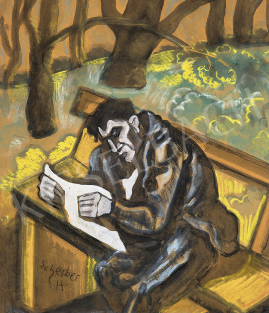 Scheiber, Hugó - In the Park (Man Reading a Newspaper), 1930s | 63st Winter Auction auction / 221 Item