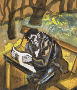 Scheiber, Hugó - In the Park (Man Reading a Newspaper), 1930s