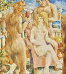 Ismeretlen közép-európai festő (Jakoby Gyula - Július Jakoby ?) - Teraszon