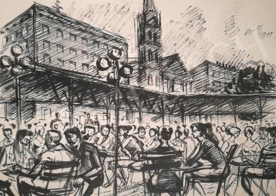 Soltész Albert - Fiatalok Budapesten a régi Dunaszálló teraszán, 1961 festménye