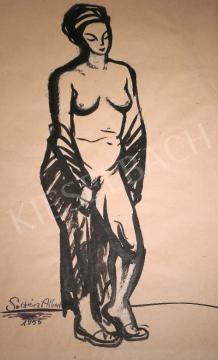 Eladó  Soltész Albert - Akt lepelben, 1955 festménye