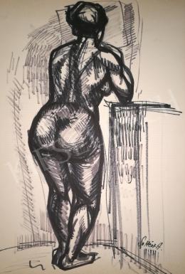 Soltész Albert - Könyöklő női akt