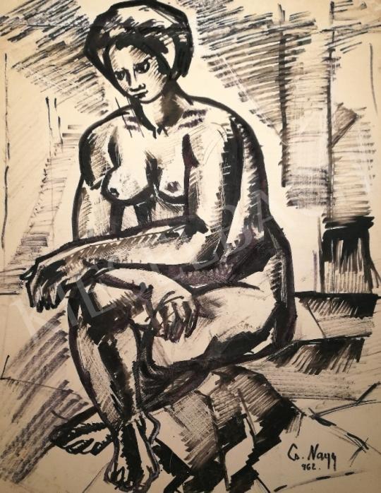 Eladó  Cs. Nagy András - Ülő női akt, 1962 festménye