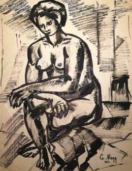 Cs. Nagy András - Ülő női akt, 1962