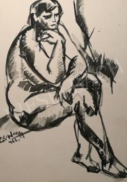 Cs. Nagy, András - Sitting female nude, 1962