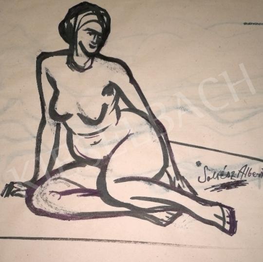 Soltész Albert - Ülő női akt festménye