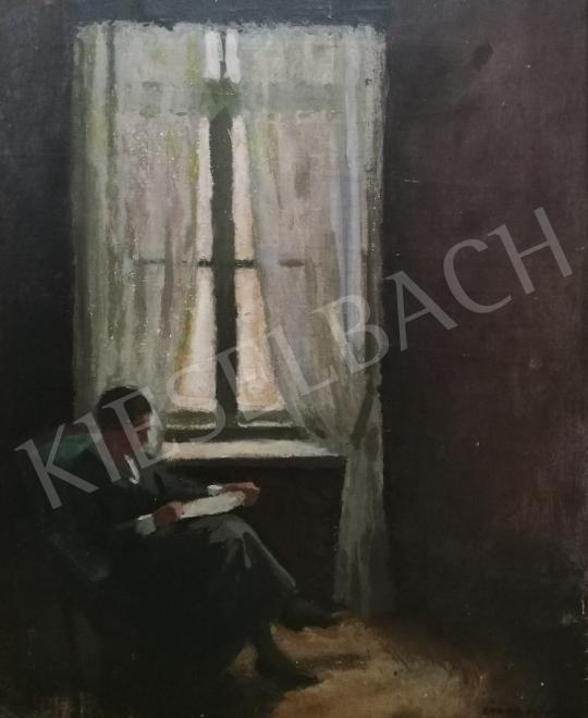 Zádor István - Ablaknál olvasó hölgy festménye