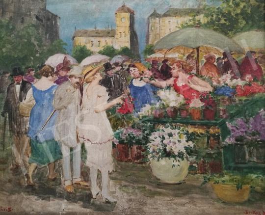 Eladó  Berkes Antal - Virágpiac festménye