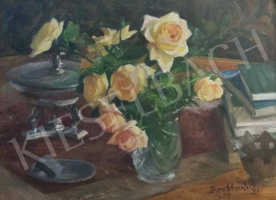 Eladó  Benkhard Ágost - Sárgarózsás csendélet festménye