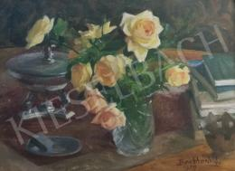 Benkhard, Ágost - Yellow rose still life