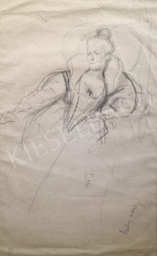 Eladó  Benczúr Gyula - Hölgy fotelben festménye